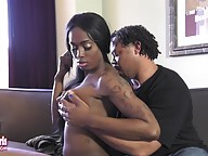 Beautiful Tiyara is a gorgeous petite Grooby girl with an amazing body, perky breasts, a sexy uncut cock and a great ass! Watch this hot tgirl receiving head from her man before he fucks that superb ass until he shoots his load all over her!