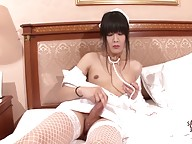 This lovely doll is superb. She`s so beautiful. She looks so hot on that nurse uniform. Her smile is so perfect. She`s really a hottie with those cute blossoming tits, tight and sexy ass and nice hard cock. Watch Yoko as she performs her job naughtily on