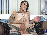 Meet stunning Lena Jade! A gorgeous Grooby newbie with a sexy slim body, budding hormone breasts, a super ass and a sexy hard cock! Join this sexy tgirl as she shakes her hot booty and strokes her hard cock!