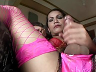 We love an Asian tranny with a big dick and Bea represents in this department very well. Wearing a colorful ensemble of lingerie, she sits back, relaxes and whips out her cock to have a good ol` fashion jerk off and we`d like to invite you to do the same