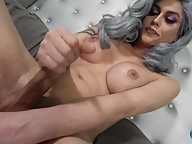 Domino Presley, the superstar and OG Grooby Girl, returns for another edition of `Cumshot Monday`! Domino shows why she�s always at the top of her game as she strokes her cock and shows off that world class ass as only she can do. Enjoy watching gorgeous